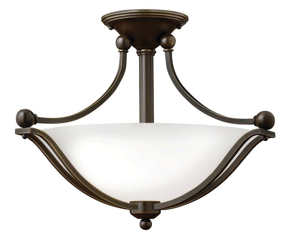 Hinkley Lighting 4651-OPAL 2 Light Indoor Semi-Flush Ceiling Fixture