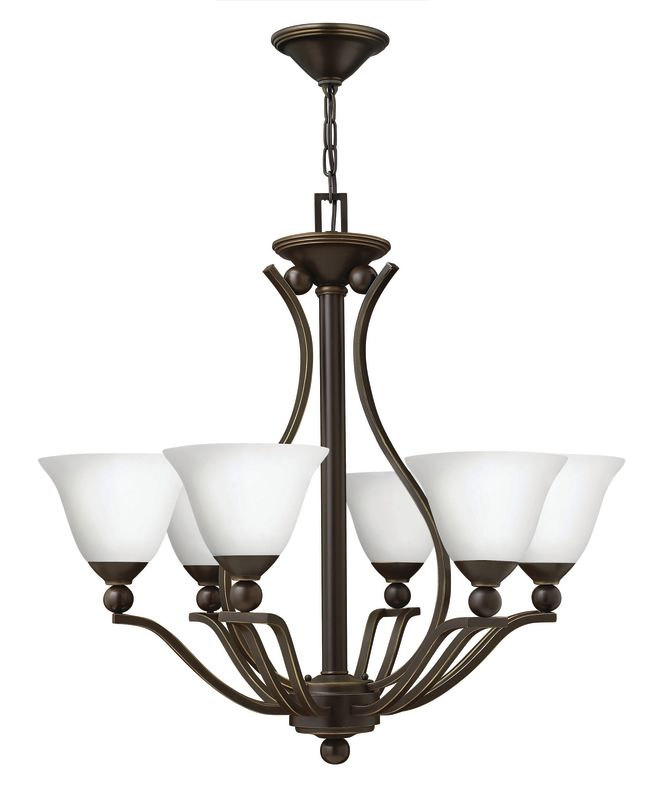 Hinkley Lighting 4656-OPAL Bolla 6 Light 1 Tier Chandelier with Etched