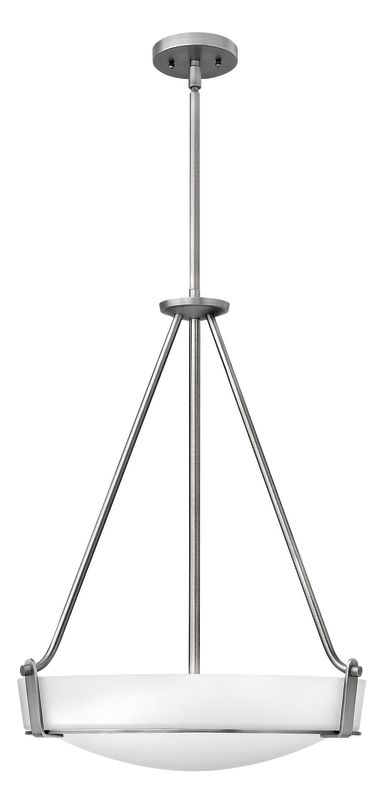 "Hinkley Lighting 3222 4 Light Full Sized Foyer Pendant from the Sale $439.00 ITEM#: 1411238 MODEL# :3222AN UPC#: 640665322200 Four Light Full Sized Foyer Pendant from the Hathaway Collection Features: Etched glass bowl shade Etched glass shades offer creative patterns and designs Made of metal Designed to cast light in a downward direction Includes (1) 6"" and (2) 12"" downrods Suitable for dry locations Lamping Technology: Bulb Base - Medium (E26): The E26 (Edison 26mm), Medium Edison Screw, is the standard bulb used in 120-Volt applications in North America. E26 is the most common bulb type and is generally interchangeable with E27 bulbs. Specifications: Bulb Base: Medium (E26) Bulb Included: No Canopy Diameter: 5"" Downrod Size(s): 6"", 12"" Downrod(s) Included: Yes Height: 26.5"" (measured from ceiling to bottom most point of fixture) Material: Other Metals Number of Bulbs: 4 Product Weight: 23 lbs Shade Height: 4.875"" Shade Width: 19"" Sloped Ceiling Compatible: No Title 24: No UL Rating: Dry Location Voltage: 120v Wattage: 400 Watts Per Bulb: 100 Width: 20.75"" (measured from furthest point left to furthest point right on fixture) Compliance: UL Listed - Indicates whether a product meets standards and compliance guidelines set by Underwriters Laboratories. This listing determines what types of rooms or environments a product can be used in safely. About Hinkley Lighting: Since 1922, Hinkley Lighting has been driven by a passion to blend design and function in creating quality products that enhance your life. Hinkley is continually recommended by interior and exterior designers, and is available to you through premier lighting showrooms across the country. They pride themselves in delivering superior customer service that is second to none. They know that you have goals when it comes to your home's décor, and they care about helping you achieve the final outcome you are looking for in every aspect. :"