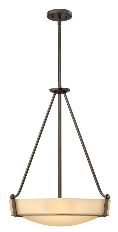 "Hinkley Lighting 3222 4 Light Full Sized Foyer Pendant from the Sale $439.00 ITEM#: 1431958 MODEL# :3222OB UPC#: 640665322217 Four Light Full Sized Foyer Pendant from the Hathaway Collection Features: Etched glass bowl shade Etched glass shades offer creative patterns and designs Made of metal Designed to cast light in a downward direction Includes (1) 6"" and (2) 12"" downrods Suitable for dry locations Lamping Technology: Bulb Base - Medium (E26): The E26 (Edison 26mm), Medium Edison Screw, is the standard bulb used in 120-Volt applications in North America. E26 is the most common bulb type and is generally interchangeable with E27 bulbs. Specifications: Bulb Base: Medium (E26) Bulb Included: No Canopy Diameter: 5"" Downrod Size(s): 6"", 12"" Downrod(s) Included: Yes Height: 26.5"" (measured from ceiling to bottom most point of fixture) Material: Other Metals Number of Bulbs: 4 Product Weight: 23 lbs Shade Height: 4.875"" Shade Width: 19"" Sloped Ceiling Compatible: No Title 24: No UL Rating: Dry Location Voltage: 120v Wattage: 400 Watts Per Bulb: 100 Width: 20.75"" (measured from furthest point left to furthest point right on fixture) Compliance: UL Listed - Indicates whether a product meets standards and compliance guidelines set by Underwriters Laboratories. This listing determines what types of rooms or environments a product can be used in safely. About Hinkley Lighting: Since 1922, Hinkley Lighting has been driven by a passion to blend design and function in creating quality products that enhance your life. Hinkley is continually recommended by interior and exterior designers, and is available to you through premier lighting showrooms across the country. They pride themselves in delivering superior customer service that is second to none. They know that you have goals when it comes to your home's décor, and they care about helping you achieve the final outcome you are looking for in every aspect. :"