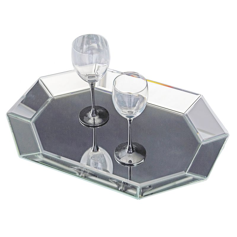 "Howard Elliott Octagonal Decorative Mirrored Tray 19"" Wide Glass and"
