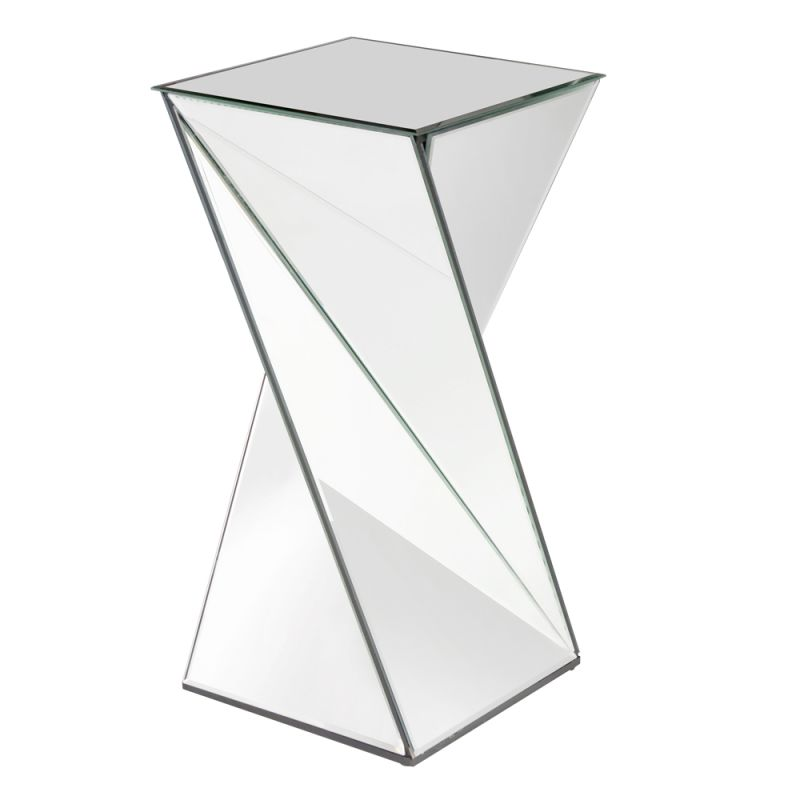 "Howard Elliott Aries Twisted Mirrored End Table 13"" Wide Mirrored"