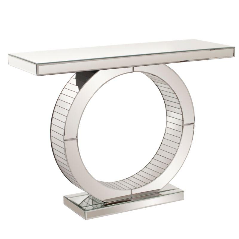 "Howard Elliott Aquarius Circular Mirrored Console Table 42"" Wide"