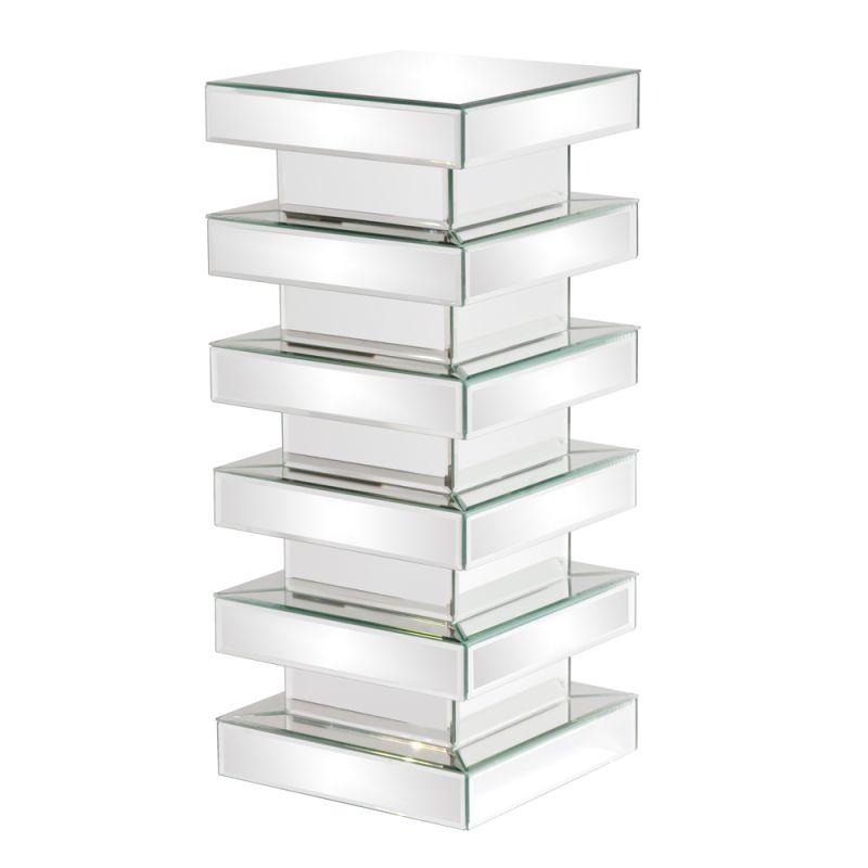 """Howard Elliott Medium Stepped Mirror on Mirror Pedestal 28"""" Tall"""