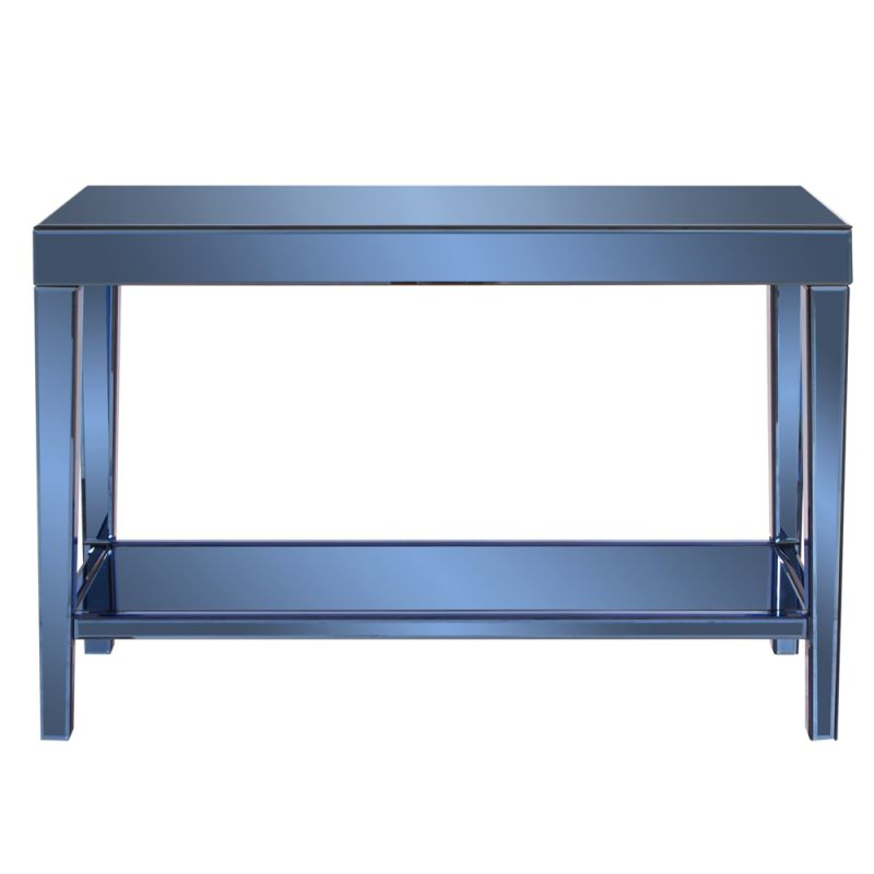"Howard Elliott Dorset Cobalt Blue Mirrored Console Table 44"" Wide Wood"
