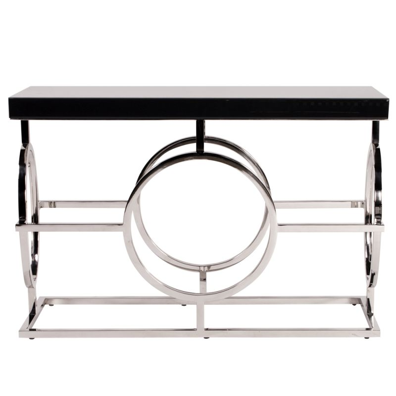 "Howard Elliott Stainless Steel Console Table 47"" Wide Metal and Wood"