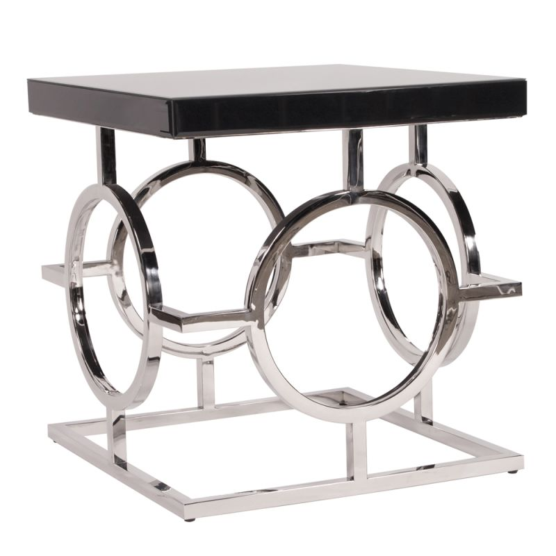 "Howard Elliott Stainless Steel End Table with Top 24"" Wide Metal and"