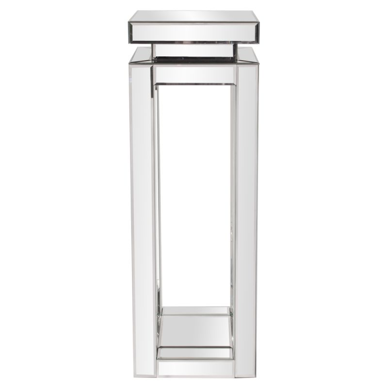 "Howard Elliott Tall Mirrored Pedestal Table 36"" Tall Mirrored Glass"
