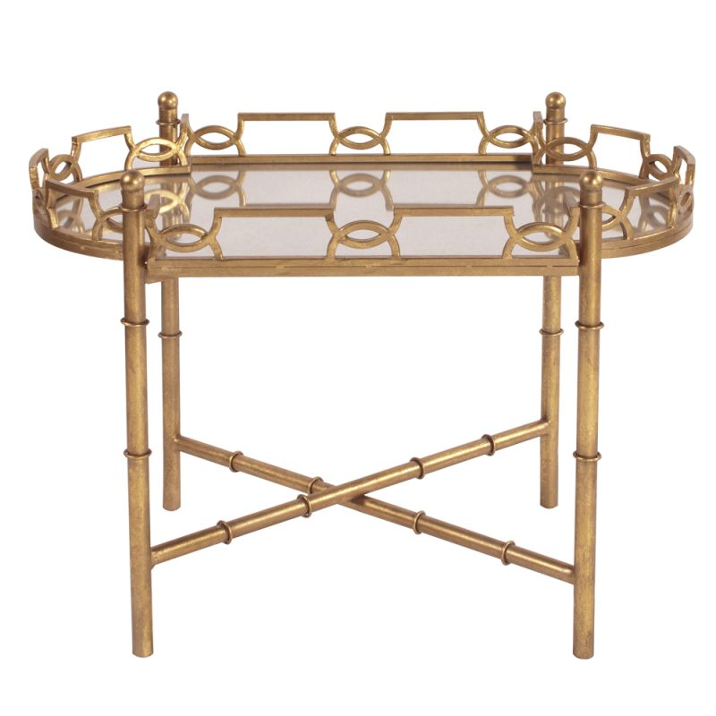 """Howard Elliott Gold Metal Accent Table 33"""" Wide Stainless Steel End"""