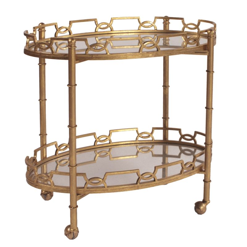 "Howard Elliott Gold Metal Serving Table with Wheels 32"" Wide Wheeled"