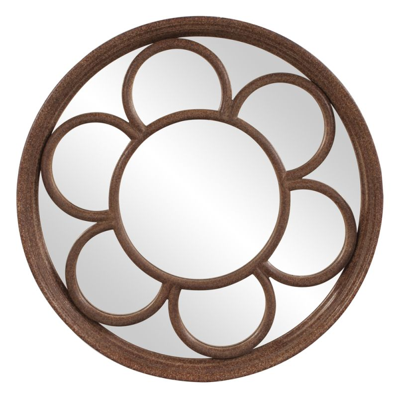 "Howard Elliott 11214 Clinton 36"" x 36"" Round Mirror Brown Home Decor"