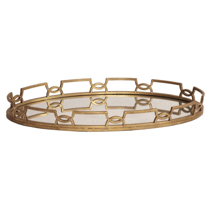 "Howard Elliott Bright Gold Metal Tray 18"" Wide Metal and Glass Tray"