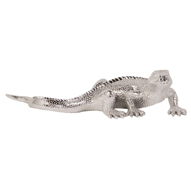 "Howard Elliott Bright Plated Lizard 9"" Long Ceramic Lizard Statue"