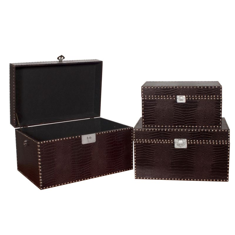 Howard Elliott Dark Brown Faux Crocodile Chest (Set of 3) Set of 3