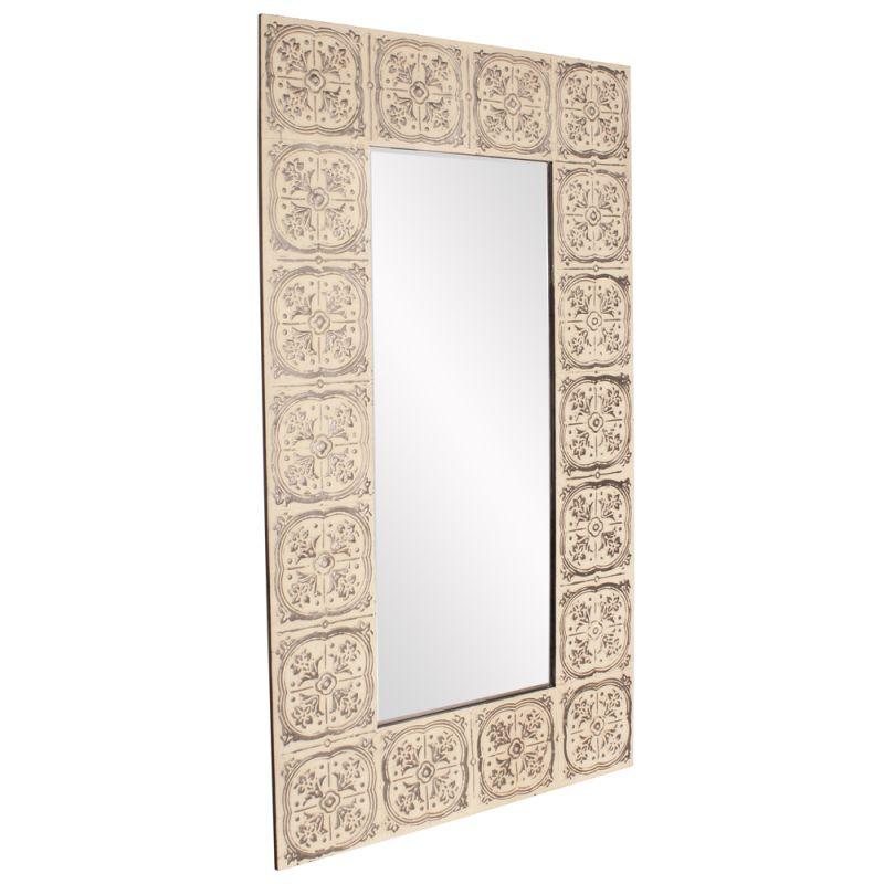 "Howard Elliott 13252 Upton 84"" x 48"" Rectangle Mirror Beige Home Decor"