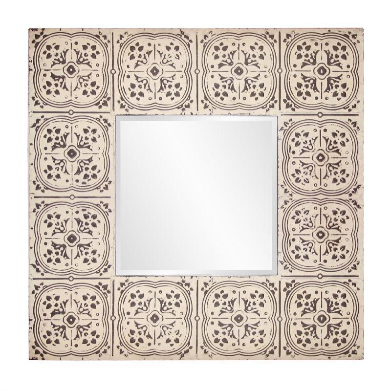 "Howard Elliott 13254 Upton 48"" x 48"" Square Tile Mirror Beige Home"