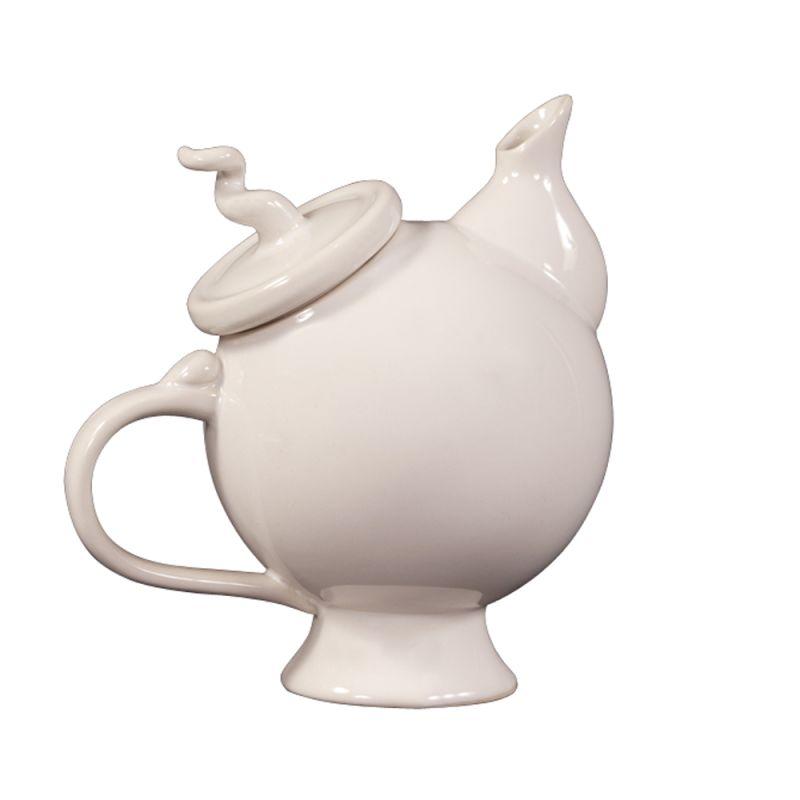 """Howard Elliott Glossy White Whimsical Teapot 9"""" Tall Ceramic Teapot"""