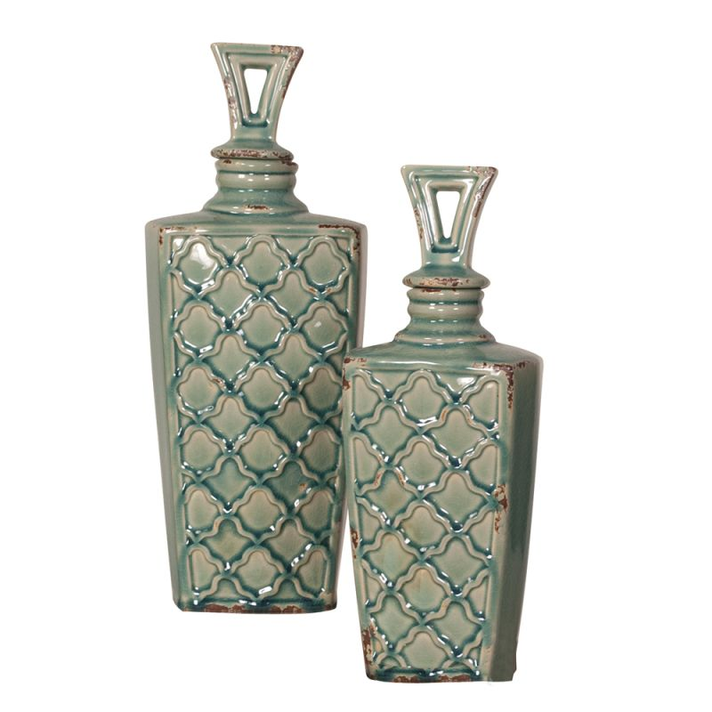 Howard Elliott Textured Vessel with Lid (Set of 2) Set of 2 Ceramic