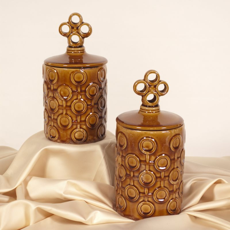 Howard Elliott Textured Ceramic Jar with Lid (Set of 2) Set of 2