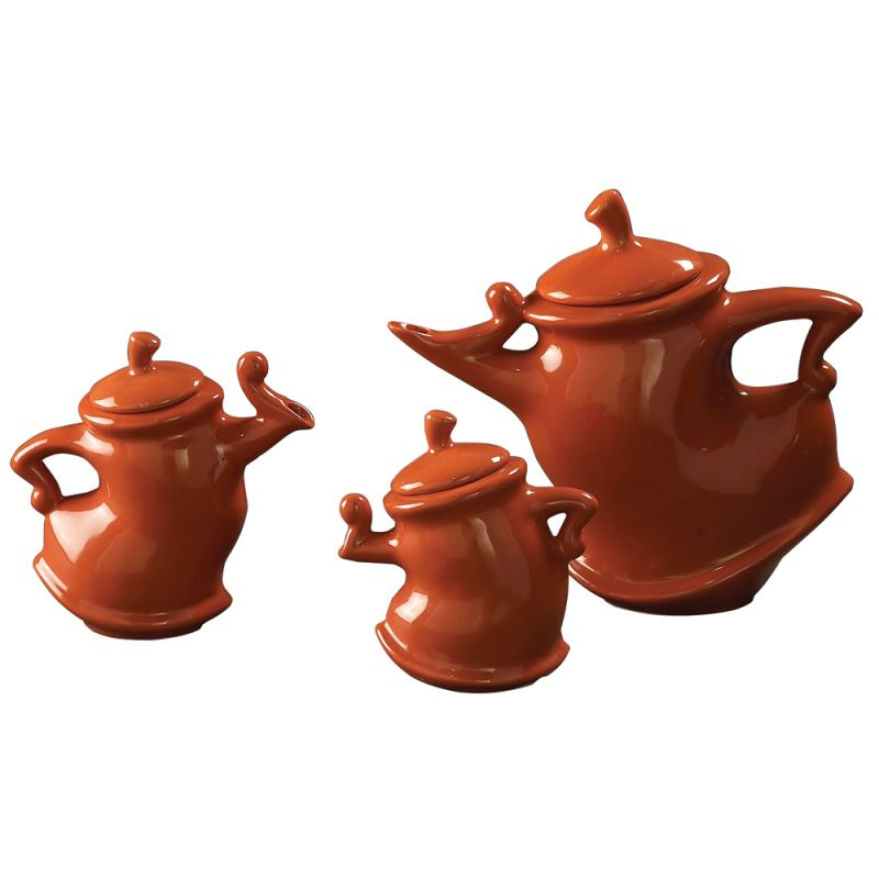 Howard Elliott Whimsical Tea Pots Set of 3 Ceramic Decorative Teapots