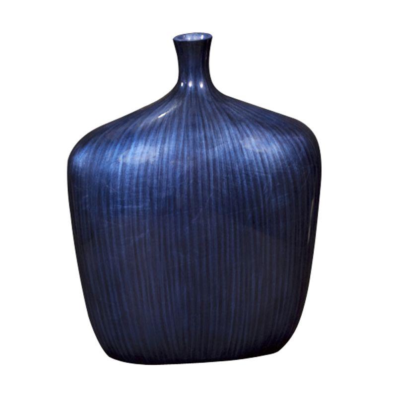 "Howard Elliott Large Sleek Cobalt Blue Vase 14"" Tall Wood Vase Cobalt"
