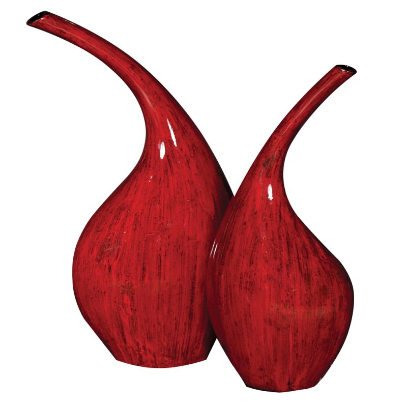 Howard Elliott Scarlet Red Ceramic Vases (Set of 2) Set of 2 Ceramic