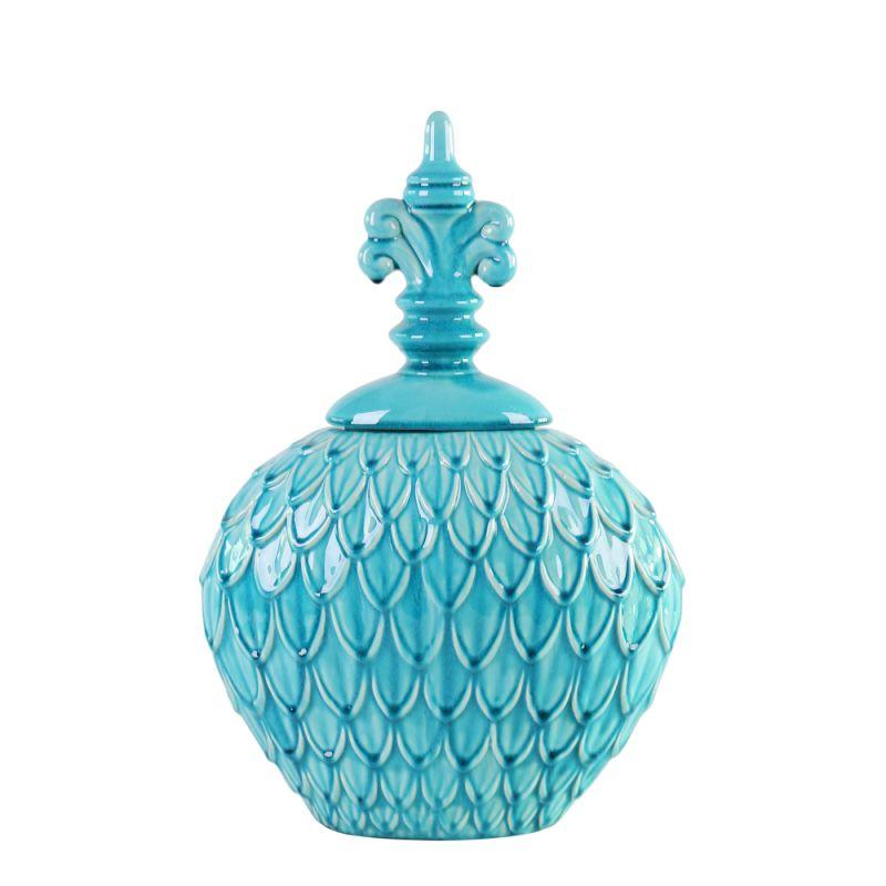 "Howard Elliott Small Textured Urn 21"" Tall Ceramic Urn Turquoise Blue"