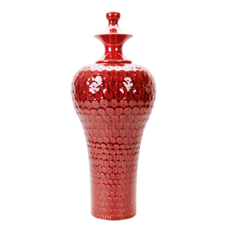 "Howard Elliott Tall Scalloped Textured Urn 25"" Tall Ceramic Urn"