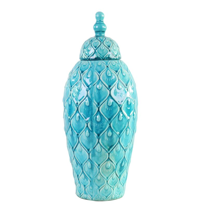 "Howard Elliott Tall Feathered Textured Urn 30"" Tall Ceramic Urn"