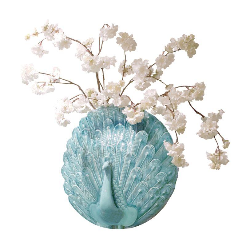 "Howard Elliott Peacock Wall Vase 6"" Tall Ceramic Vase Turquoise Blue"