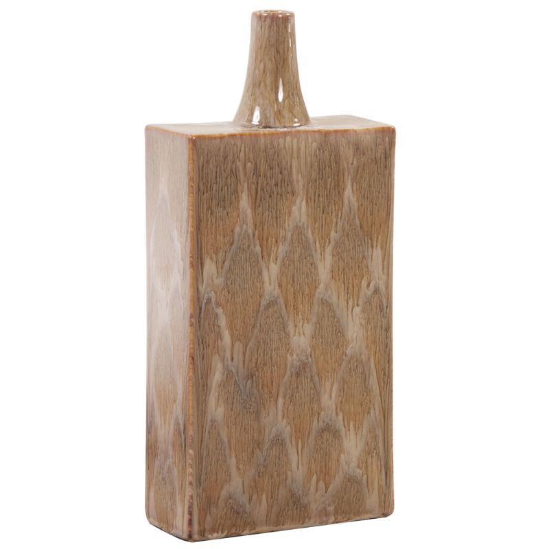"Howard Elliott Tall Mocha and Cream Dripped Ceramic Vase 19"" Tall"