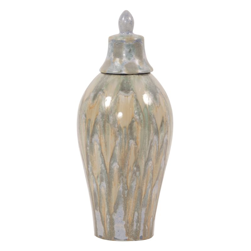 "Howard Elliott Large Celadon Dripped Ceramic Urn with Lid 20.5"" Tall"