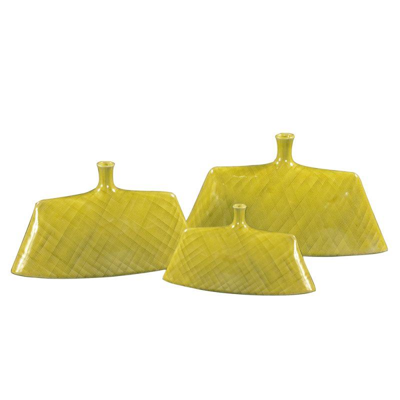 Howard Elliott Chartreuse Green Glaze Ceramic Vases (Set of 3) Set of