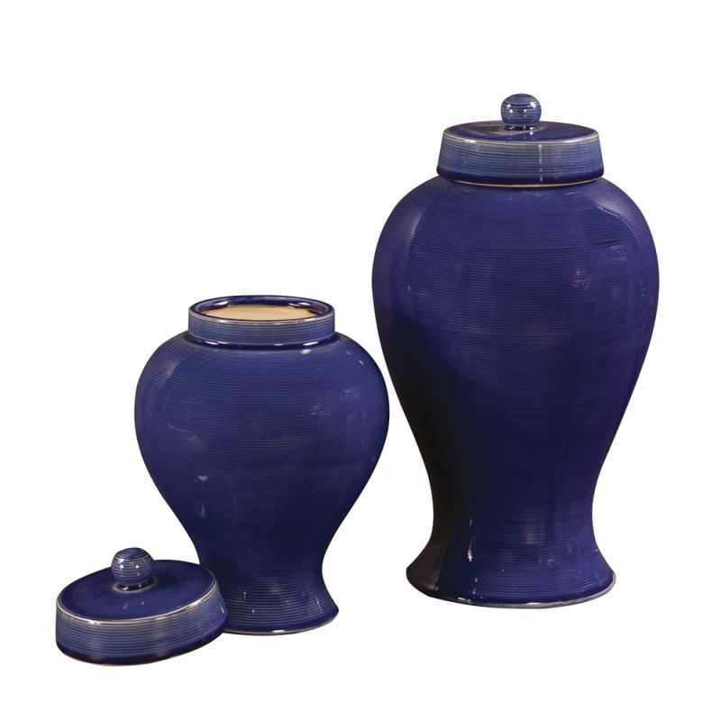Howard Elliott Cobalt Blue Glaze Ceramic Jar with Lid (Set of 2) Set