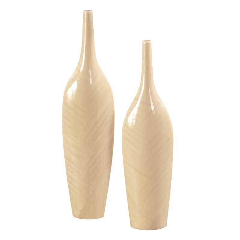 Howard Elliott Tall Cream Glaze Ceramic Vases (Set Of 2) Set of 2