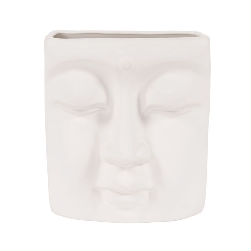 "Howard Elliott Peaceful Buddha Wall Vase 9"" Tall Ceramic Buddha Wall"