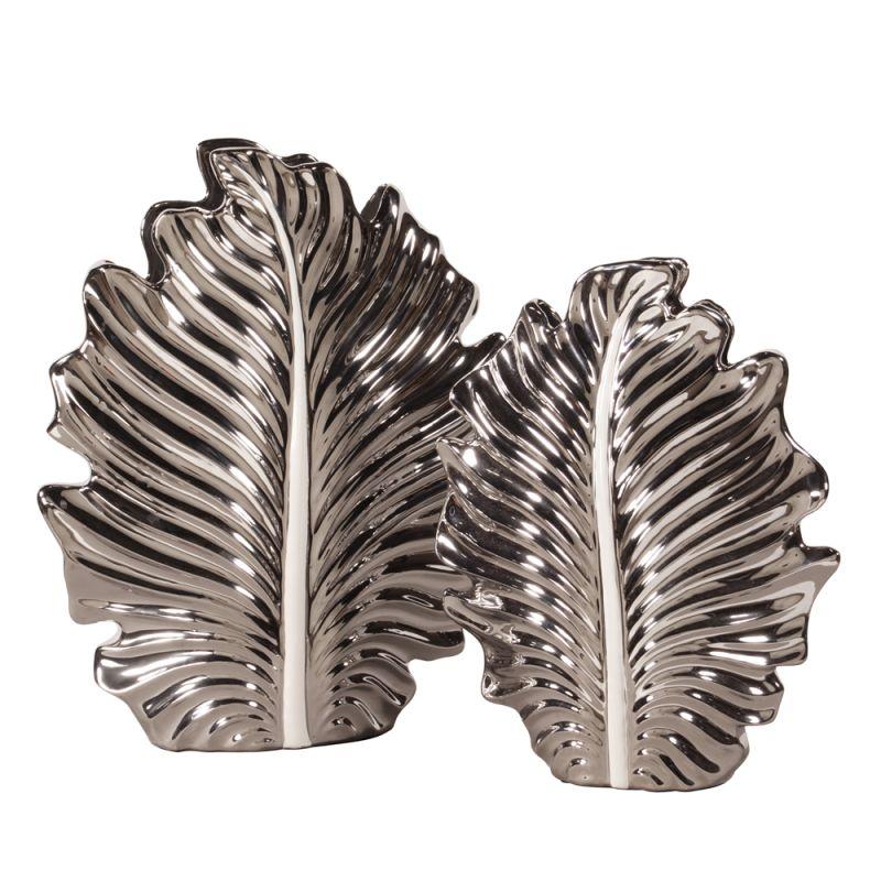 Howard Elliott Plated Leaf Vase Set Set of 2 Ceramic Vases Nickel