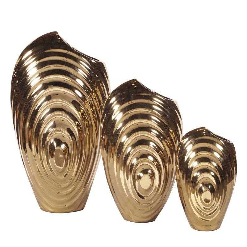 Howard Elliott Plated Swirl Vase Set (Set of 3) Set of 3 Ceramic Vases