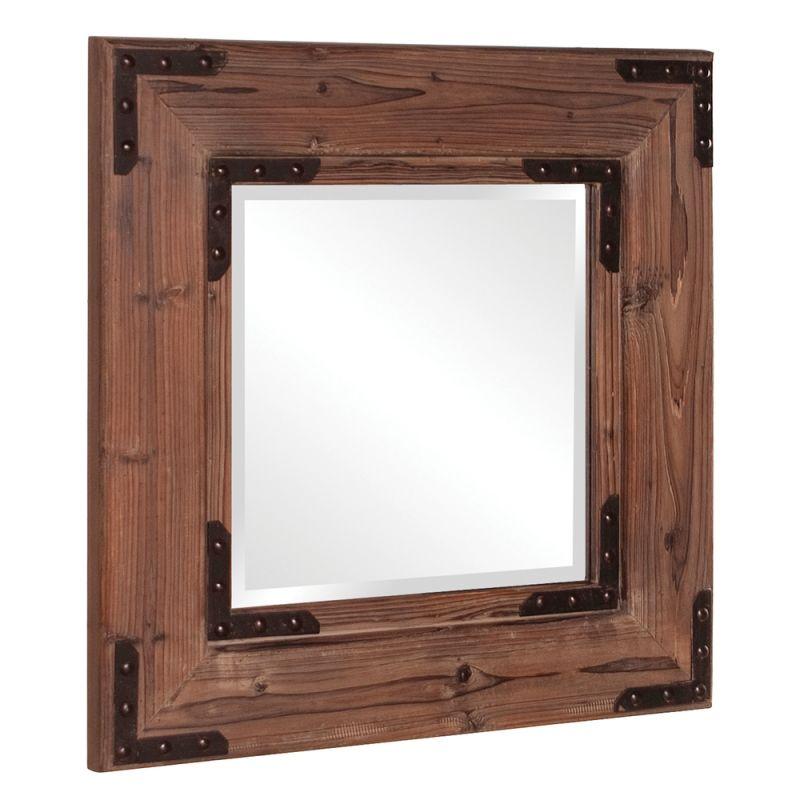 "Howard Elliott 37069 Caldwell 28"" x 28"" Square Wood Mirror Brown Home"