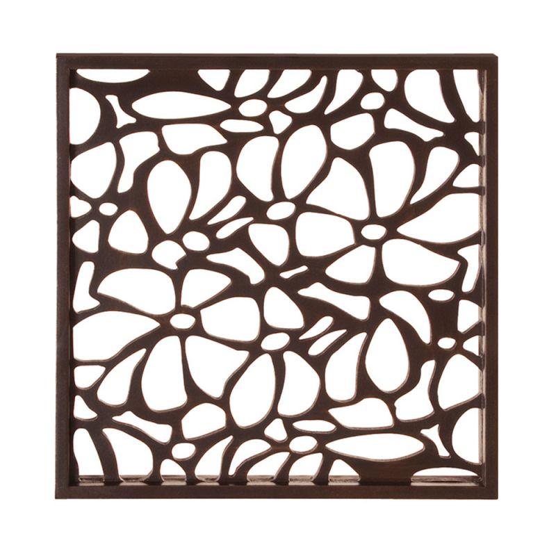 Howard Elliott 37090 Wall Art Deep Brown Stained w/ Floral Cutwork