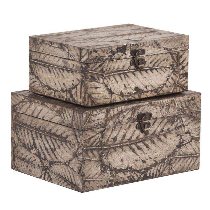 Howard Elliott Leaf Textured Wood Box Set 2 Piece Wood Box Set