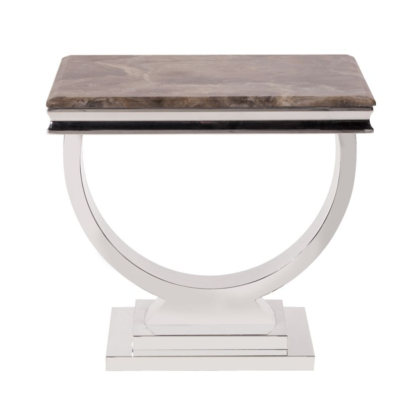 "Howard Elliott Stainless Steel Side Table with Stone Top 24.5"" Wide"