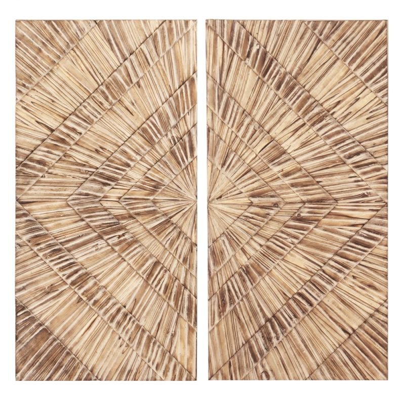 Howard Elliott 39005 Wall Art Natural Wood Textured - Set of 2 Natural