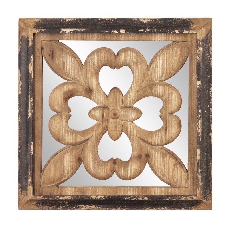 "Howard Elliott 39018 Harrison 20"" x 20"" Square Wood Mirror Brown Home"
