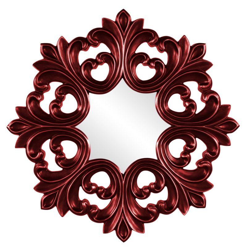 "Howard Elliott 43105R Annabelle 35"" x 35"" Red Baroque Mirror Red Home"