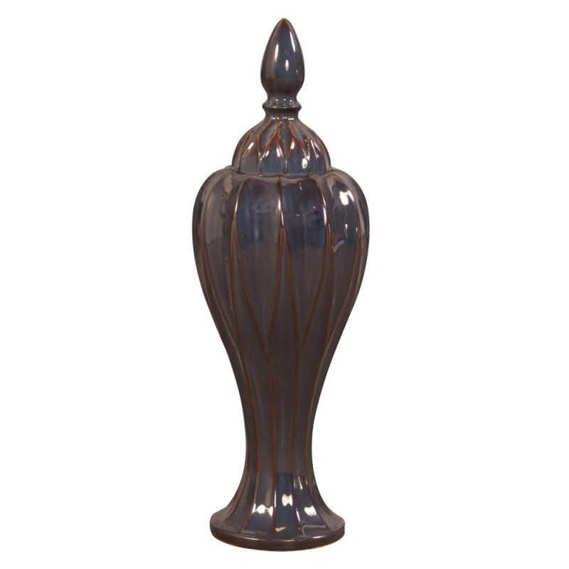 "Howard Elliott Narrow Tall Vase with Lid 28"" Tall Ceramic Vase with"