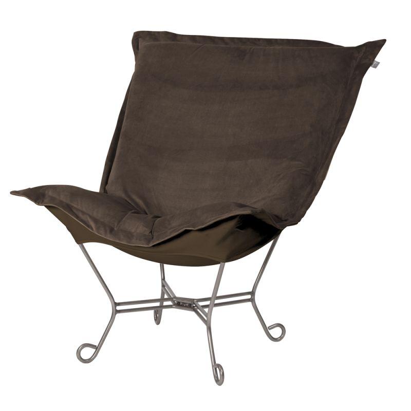 "Howard Elliott Bella Scroll Puff Chair with Titanium Frame 40"" Tall"