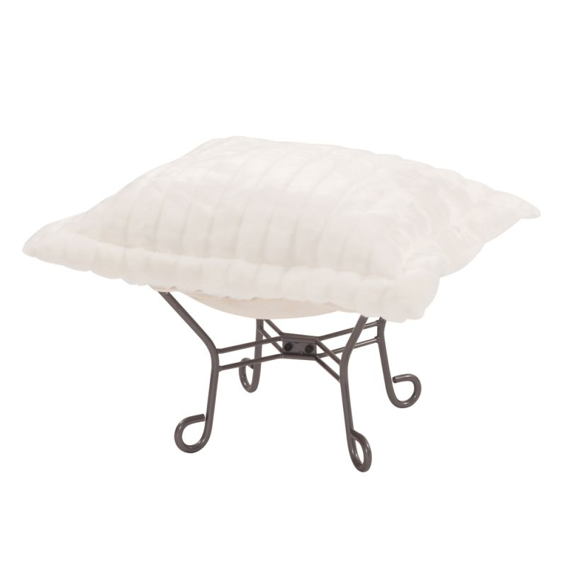 "Howard Elliott Mink Scroll Puff Ottoman with Titanium Frame 24"" Square"