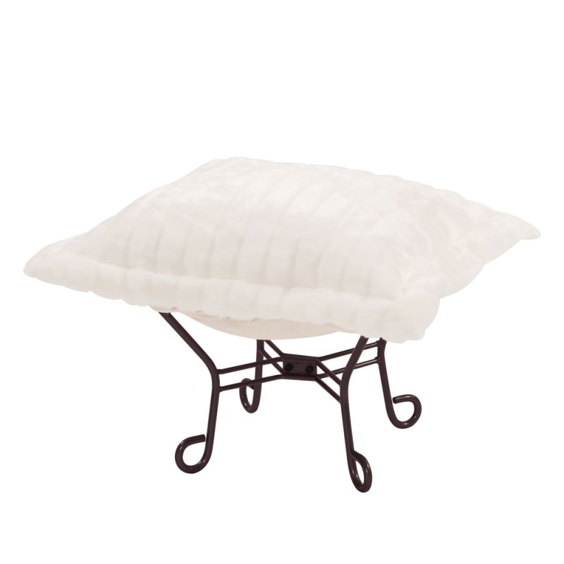 "Howard Elliott Mink Scroll Puff Ottoman with Mahogany Frame 24"" Square"