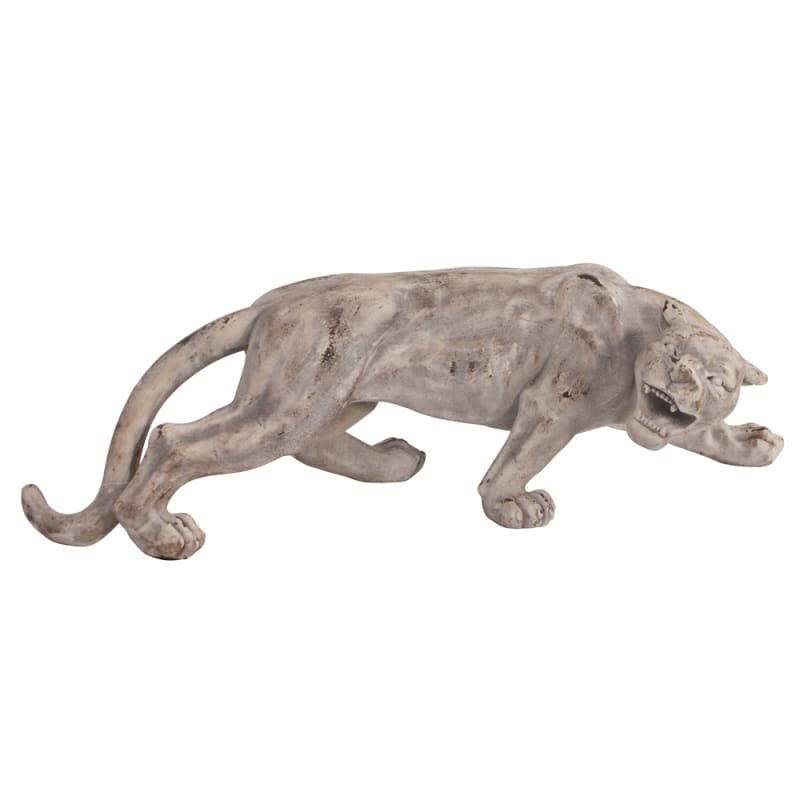 "Howard Elliott Faux Stone Leopard 12"" Tall Ceramic Sculpture Rustic"